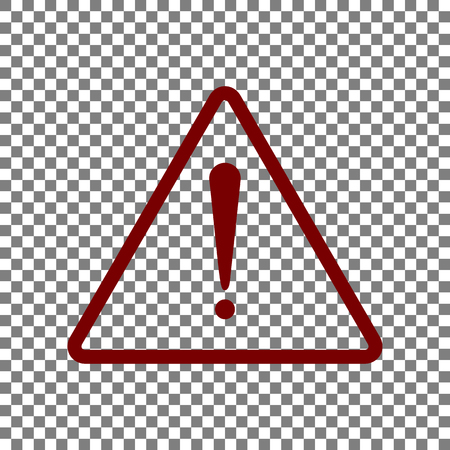 Exclamation danger sign. Flat style. Maroon icon on transparent background.