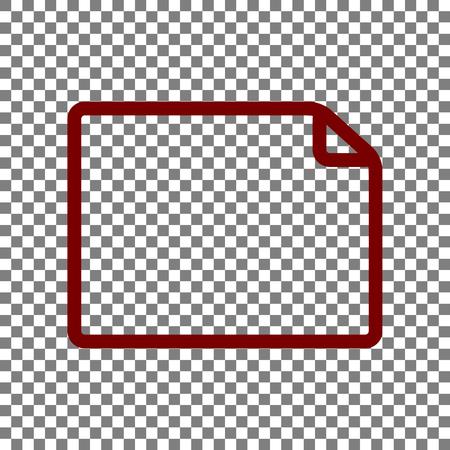 horisontal: Horisontal document sign illustration. Maroon icon on transparent background.