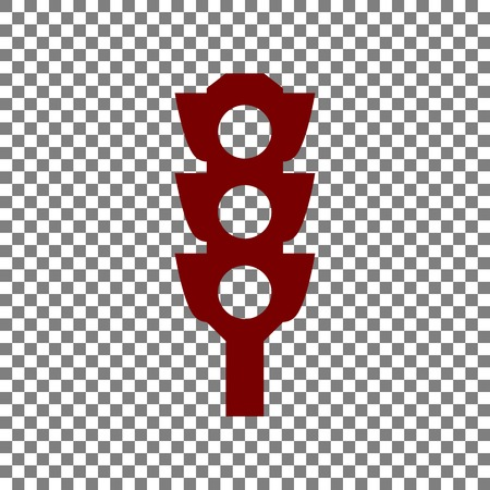 trafficlight: Traffic light sign. Maroon icon on transparent background. Illustration