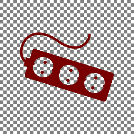 overload: Electric extension plug sign. Maroon icon on transparent background.