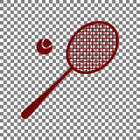 Tennis racquet sign. Maroon icon on transparent background. Illustration