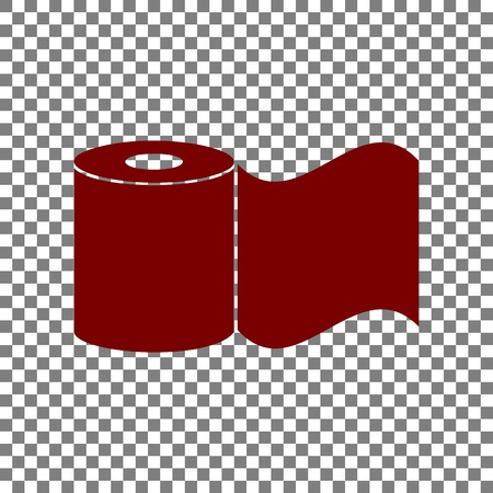 Toilet Paper sign. Maroon icon on transparent background. Illustration