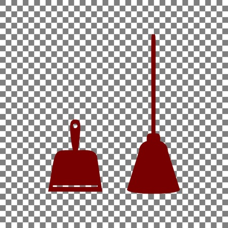 whisk broom: Dustpan vector sign. Scoop for cleaning garbage housework dustpan equipment. Maroon icon on transparent background. Illustration
