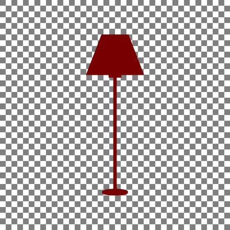 Lamp simple sign. Maroon icon on transparent background.