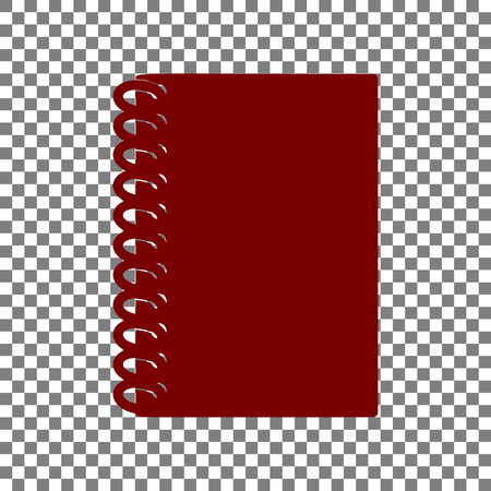 writing pad: Notebook simple sign. Maroon icon on transparent background. Illustration