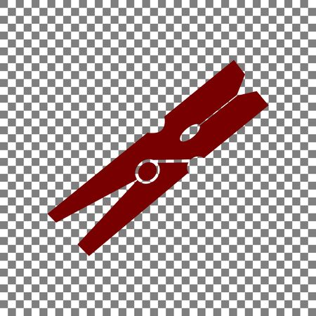 clothespeg: Clothes peg sign. Maroon icon on transparent background.