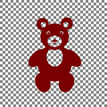 Teddy bear sign illustration. Maroon icon on transparent background.