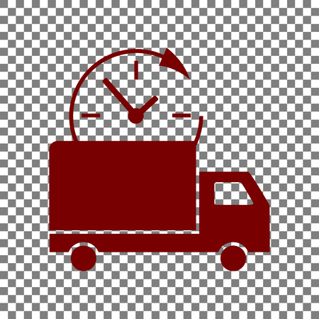 Delivery sign illustration. Maroon icon on transparent background.