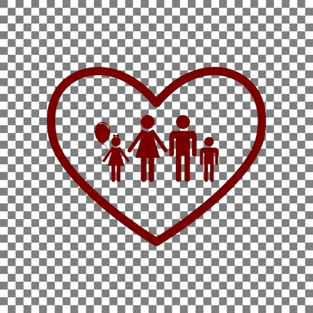 siloette: Family sign illustration in heart shape. Maroon icon on transparent background.