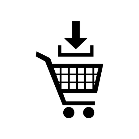 Add to Shopping cart sign. Flat style black icon on white. Vettoriali