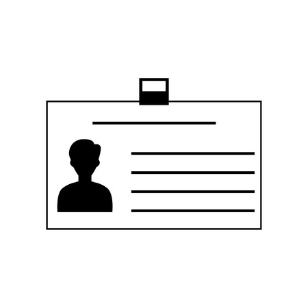 authenticate: Identification card sign. Flat style black icon on white.