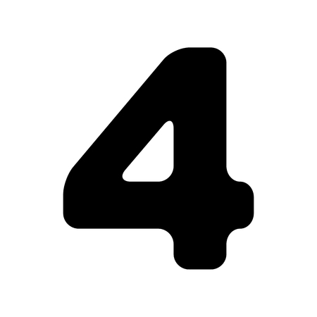 Number 4 sign design template element. Flat style black icon on white.