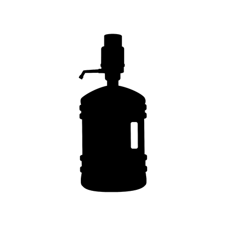 siphon: Plastic bottle silhouette with water and siphon. Flat style black icon on white.