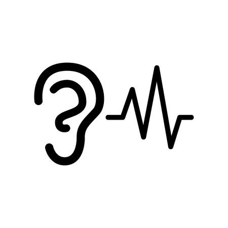 귀에 들리는 소리 신호. 흰색에 평면 스타일 검은 아이콘.
