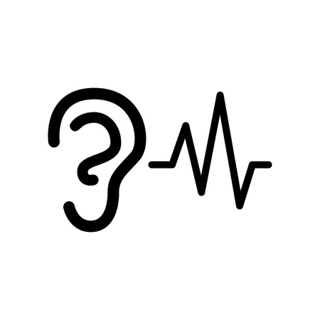 Ear hearing sound sign. Flat style black icon on white. Ilustração