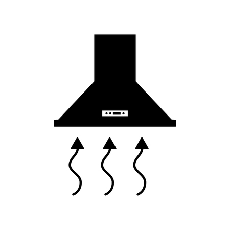 extractor: Exhaust hood. Range hood. Kitchen ventilation sign. Flat style black icon on white. Illustration