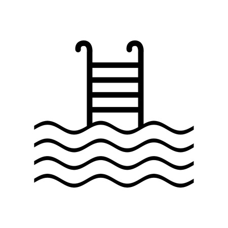 handrail: Swimming Pool sign. Flat style black icon on white.