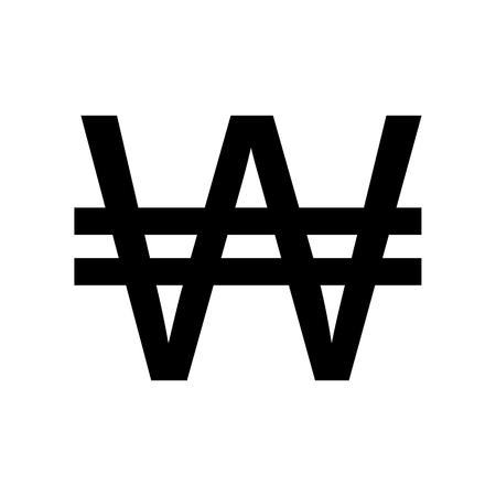 Won sign. Flat style black icon on white.