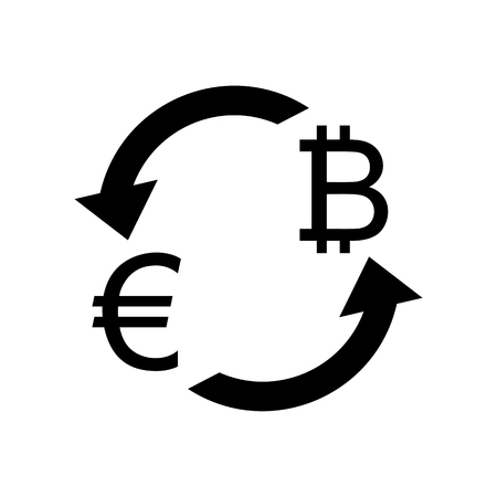 Currency exchange sign. Euro and Bitkoin. Flat style black icon on white.