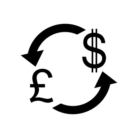 abstract recycle arrows: Currency exchange sign. UK: Pound and US Dollar. Flat style black icon on white.