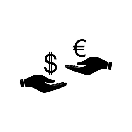 Currency exchange from hand to hand. Dollar adn Euro. Flat style black icon on white.