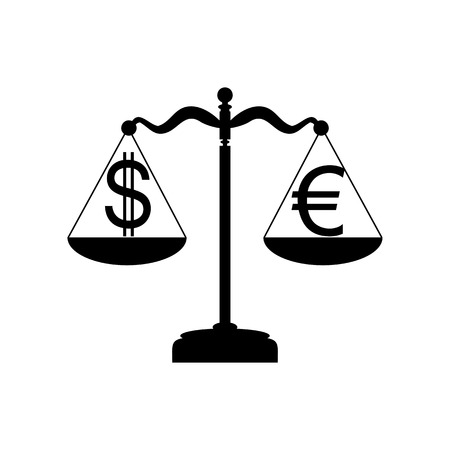 profile measurement: Justice scales with currency exchange sign. Flat style black icon on white. Illustration