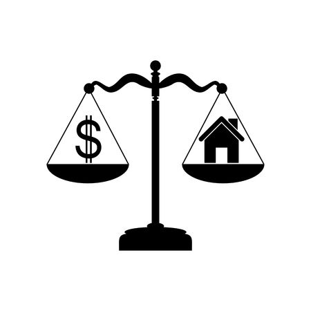 profile measurement: House and dollar symbol on scales. Flat style black icon on white. Illustration
