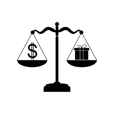 Gift and dollar symbol on scales. Flat style black icon on white.