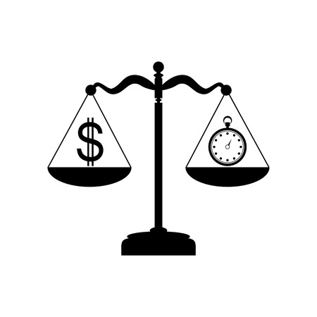 Stopwatch and dollar symbol on scales. Flat style black icon on white.