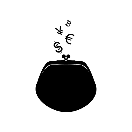 Wallet sign with currency symbols. Flat style black icon on white.