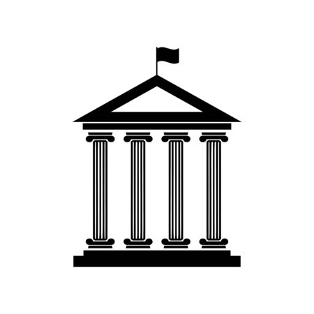 derecho romano: Historical building with flag. Flat style black icon on white.