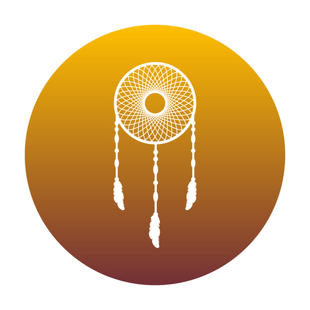swelled: Dream catcher sign. White icon in circle with golden gradient as background. Isolated.