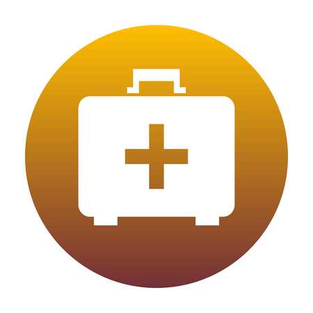 Medical First aid box sign. White icon in circle with golden gradient as background. Isolated. Illustration