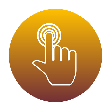 depress: Hand click on button. White icon in circle with golden gradient as background. Isolated. Illustration