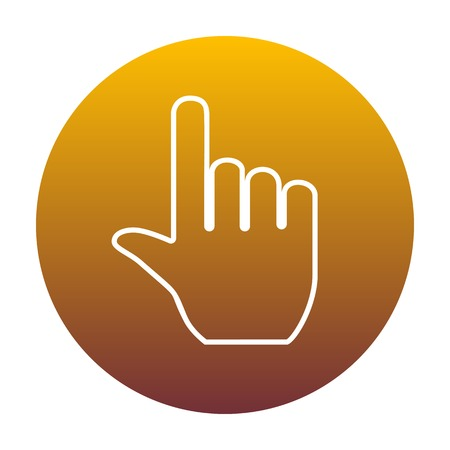 depress: Hand sign illustration. White icon in circle with golden gradient as background. Isolated.