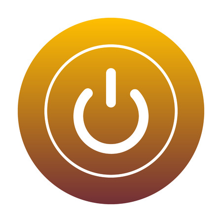 On Off switch sign. White icon in circle with golden gradient as