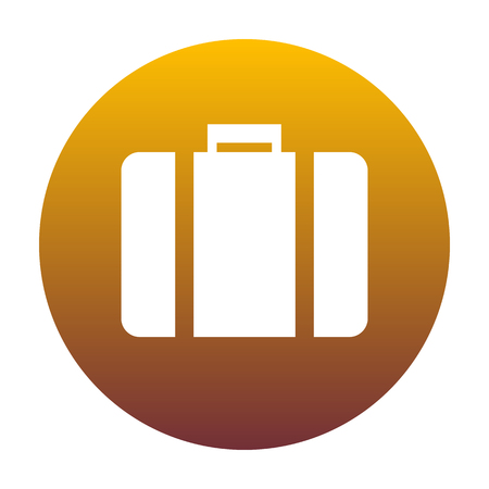 Briefcase sign illustration. White icon in circle with golden gr