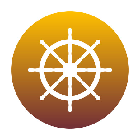 schooner: Ship wheel sign. White icon in circle with golden gradient as ba