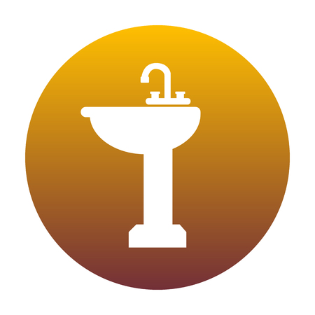 spigot: Bathroom sink sign. White icon in circle with golden gradient as background. Isolated. Illustration