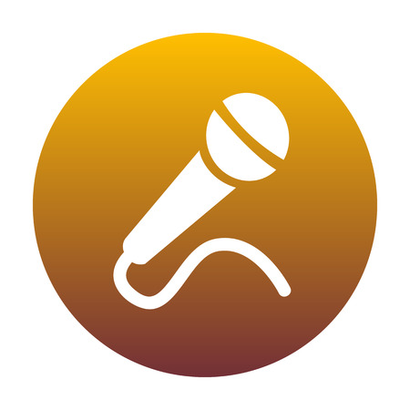 Microphone sign illustration. White icon in circle with golden gradient as background. Isolated.
