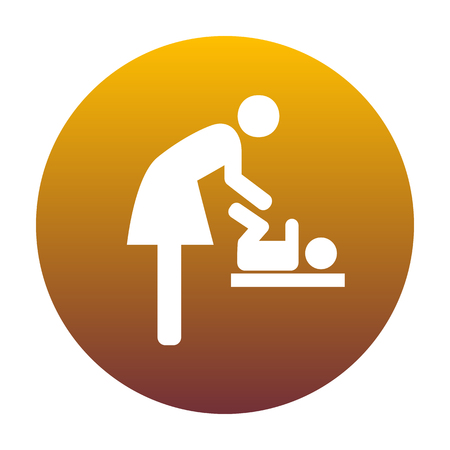 loo: Symbol for women and baby, baby changing. White icon in circle with golden gradient as background. Isolated.