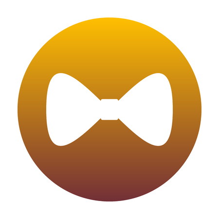 Bow Tie icon. White icon in circle with golden gradient as background. Isolated.