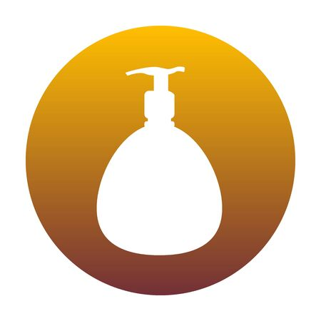 Gel, espuma o jabón líquido. Dispensador de plástico bomba botella silueta. El icono blanco en círculo con gradiente de oro como fondo. Aislado.