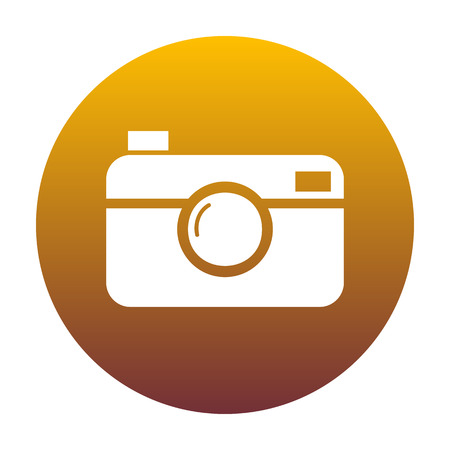 Digital photo camera sign. White icon in circle with golden gradient as background. Isolated.
