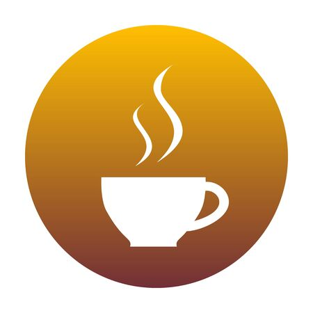 long bean: Cup of coffee sign. White icon in circle with golden gradient as background. Isolated.