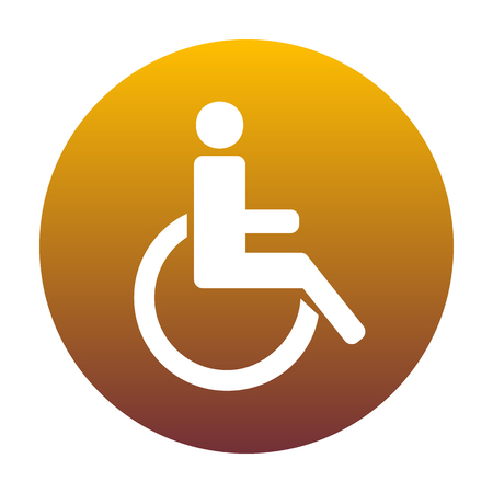 con: Disabled sign illustration. White icon in circle with golden gradient as background. Isolated. Illustration