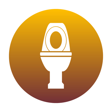 Toilet sign illustration. White icon in circle with golden gradient as background. Isolated. Illustration