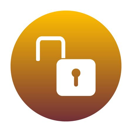 Unlock sign illustration. White icon in circle with golden gradient as background. Isolated.