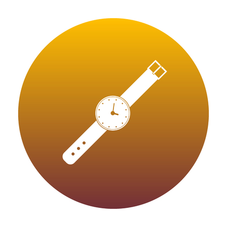 Watch sign illustration. White icon in circle with golden gradient as background. Isolated. Illustration