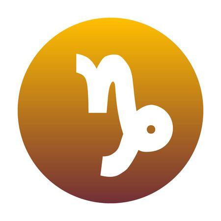 capricornio: ilustración signo de Capricornio. El icono blanco en círculo con gradiente de oro como fondo. Aislado.